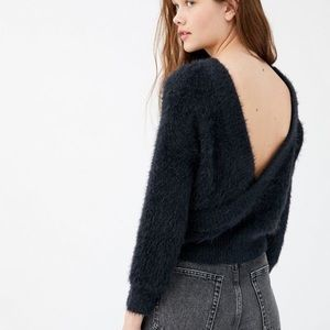 NWT Urban Outfitters Elsa Fuzzy Open Back Sweater